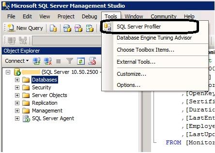 Sql profiler - запуск