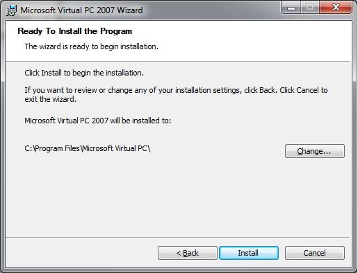 Virtual PC - install folder