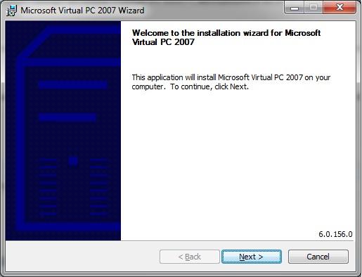 Virtual PC - install start