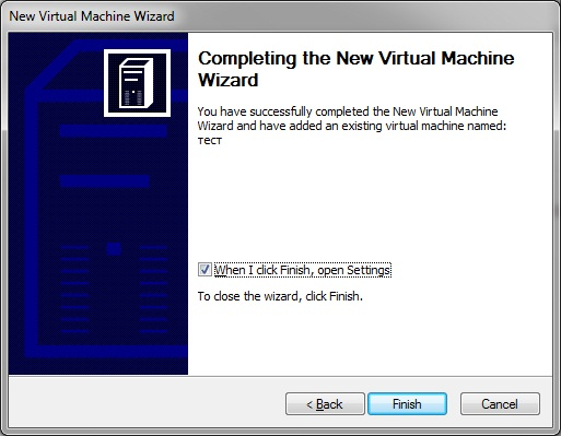 Virtual PC - new virtual machine Wizard- finish