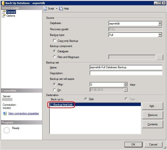 MS SQL Managment Studio - Back up Database_destination
