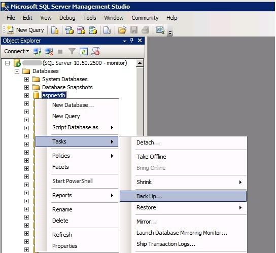 MS SQL Managment Studio - Back up