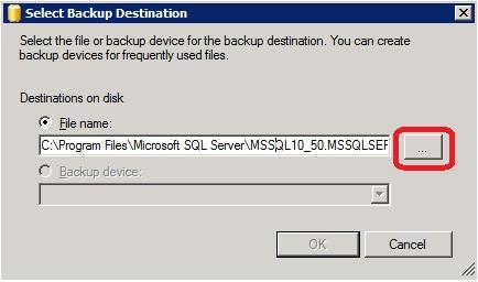 MS SQL Managment Studio - Select Backup destination