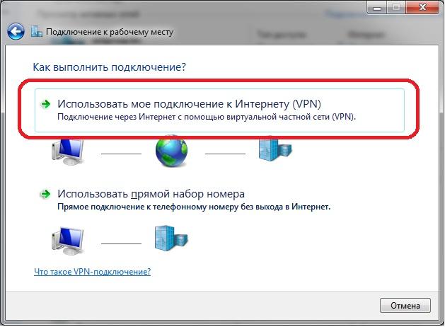 Создание нового подключения VPN в сети интернет