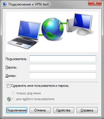Учетные данные VPN подключения