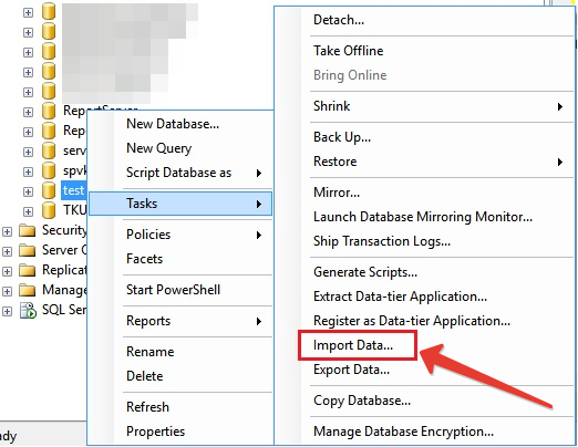 MS SQL Server - Import Data