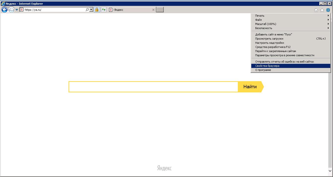 Internet Explorer - свойтсва браузера