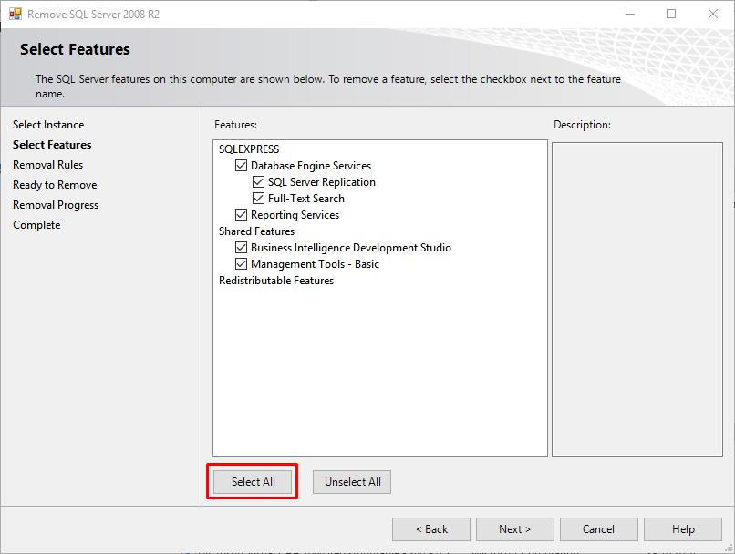 remove-sql-server-2008-r2-select-all
