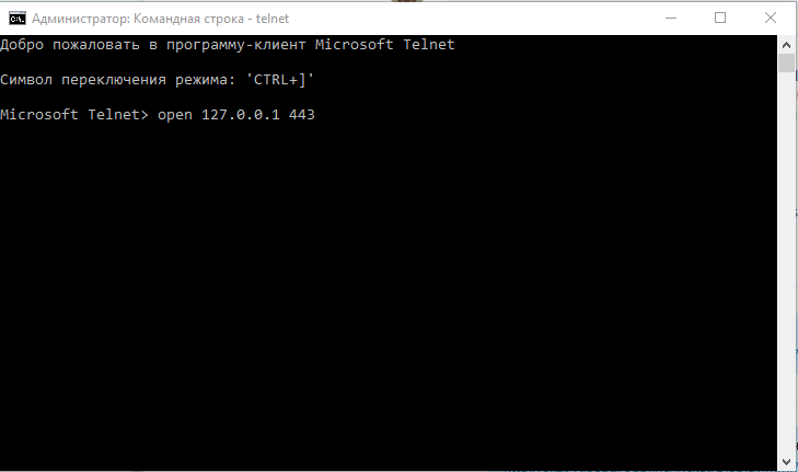 telnet - open port 443