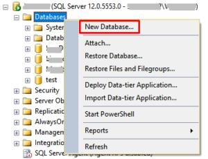 MSSQL Server - create database