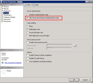 SQL Server properties - mix mode