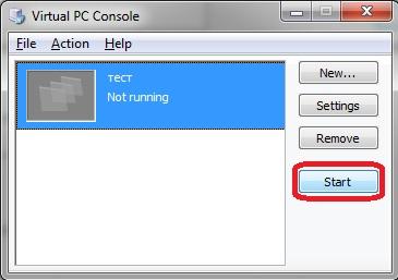 Virtual PC - Console - start