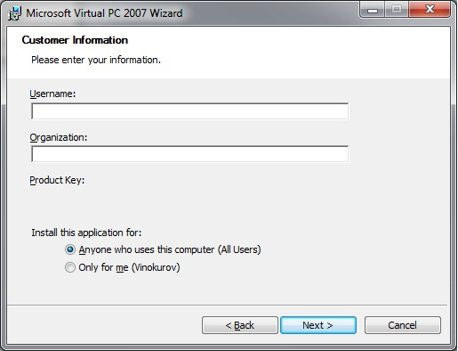 Virtual PC - install customer