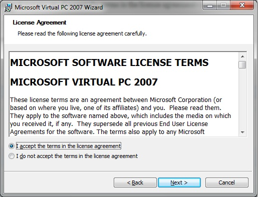 Virtual PC - install licence agreement