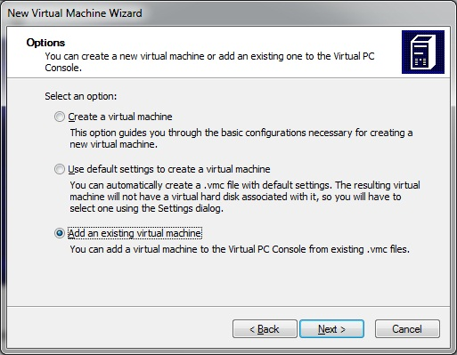 Virtual PC - new virtual machine Wizard- options