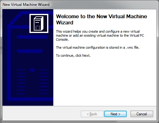 Virtual PC - new virtual machine Wizard- start