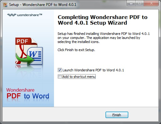 Wondershare PDF to WORD - окончание установки