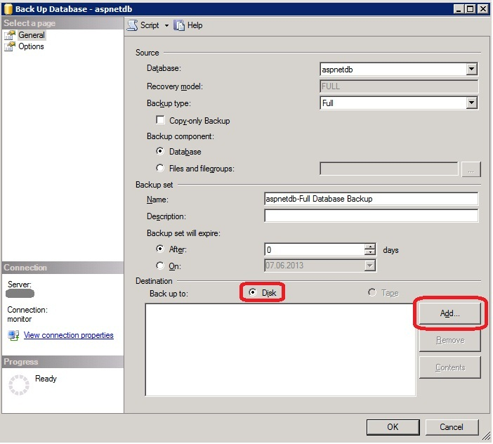 MS SQL Managment Studio - Back up Database_add