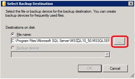 MS SQL Managment Studio - Select Backup destination