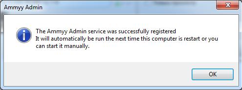 Ammy Admin - успешная установка службы