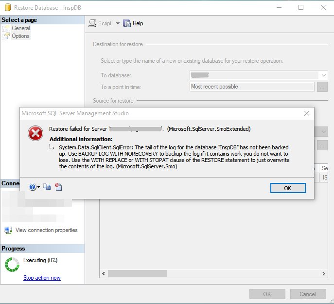 SQL Server - restore datebase error
