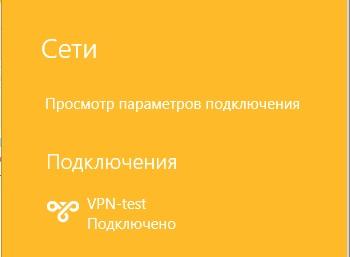 Успешное подключение по VPN-соединению в Windows 8