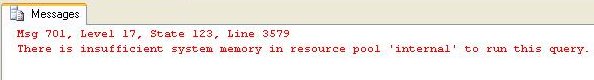 There is insufficient system memory in resource pool internal to run this query