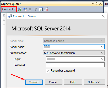 MS SQL Server - connect to server