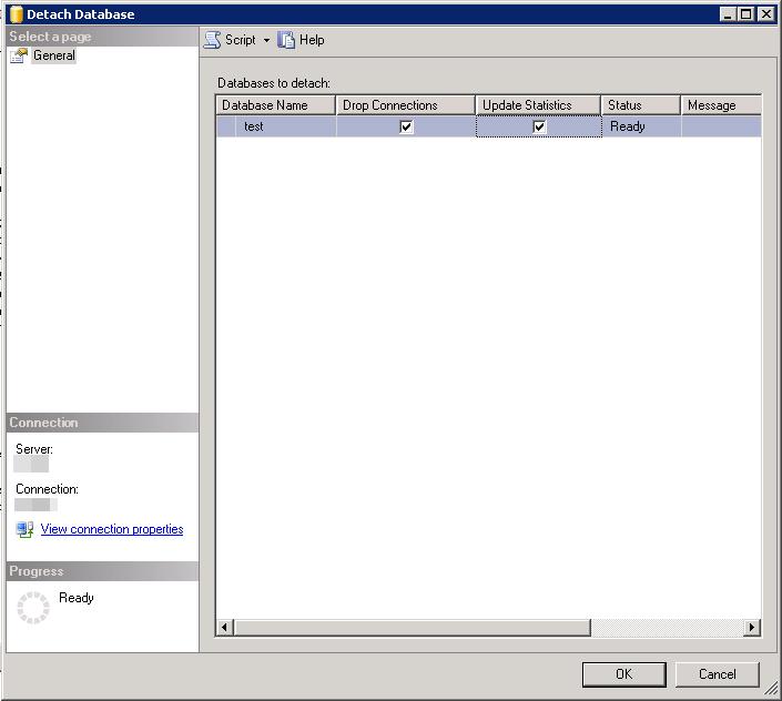 MS SQL Server - Detach Database