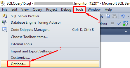 MS SQL MS - Tools- Options