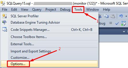 MS SQL MS - Tools- Options