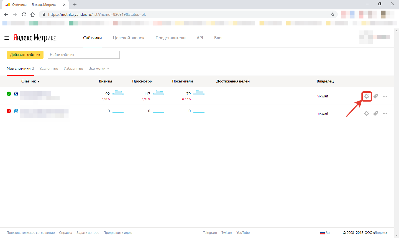 Яндекс. Метрика - список счетчиков (2)